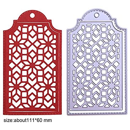 Amazon.com: Whitelotous 2pcs Lattice Tag Cutting Dies Metal Stencils ...