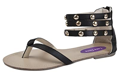 4b82e349996b Lora Dora Womens Studded Gladiator Sandals Triple Ankle Straps Black 3 36