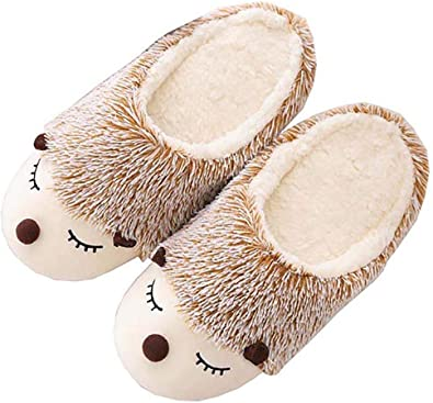 Pantuflas De Erizo Peludas Animal Cute Warm Para Mujer Zapatillas De Casa De Felpa De Felpa Suave Antideslizante Para Interiores Amazon Es Zapatos Y Complementos