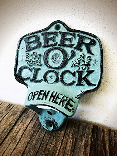 - Rustic Patina Beer O Clock Wall Mount Bottle Opener - Durable Cast Iron - Unique Bar Décor - Men's Stocking Stuffer