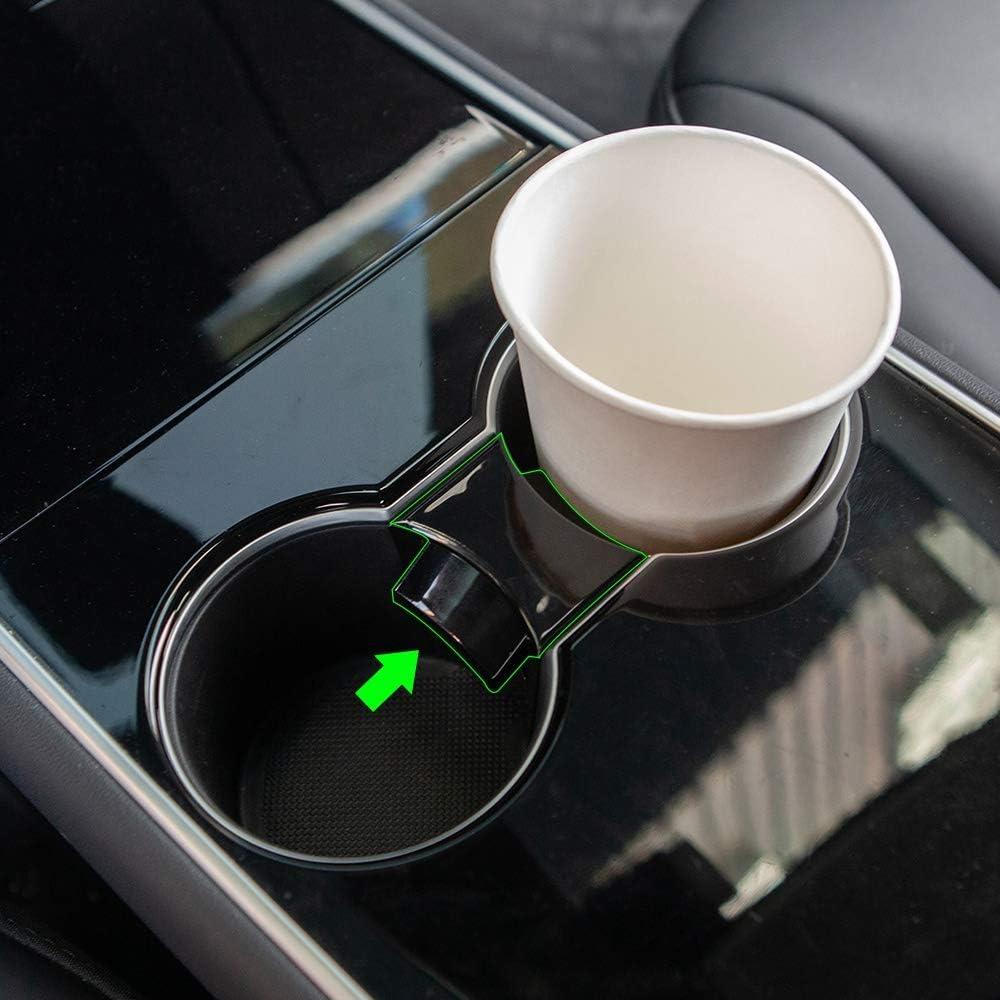 ACAMPTAR Auto Wasser Cup Slot Slip Limit Clip f/ür Tesla Model 3 Zubeh?R 2017-2020 ABS Auto Cup Holder Limiter Matt Schwarz