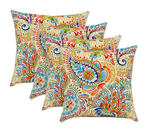 RSH D cor Indoor Outdoor Set of Throw Toss Pillows Bright Primary Color Thin Line Floral Paisley – Choose Quantity 4
