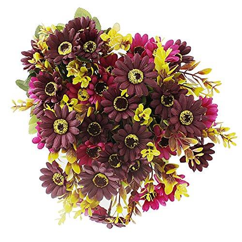 Gerbera Flower Arrangements (Artificial Lifelike Silk Gerbera Daisy Arrangements,Fake Flower Bouquet 7 Stems/Bunch,2 Bunches Home Wedding Party Floral Decor)