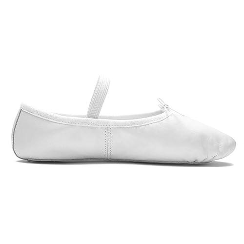 6ba7e29c1 DWS Media Punta 1003 Cuero Zapatos de Baile Zapatilla Ballet Ballerina  Mujer Niña Ballerina Principiante Ensayo Clase Baile Entrenamiento Ancho  Medio Suela ...