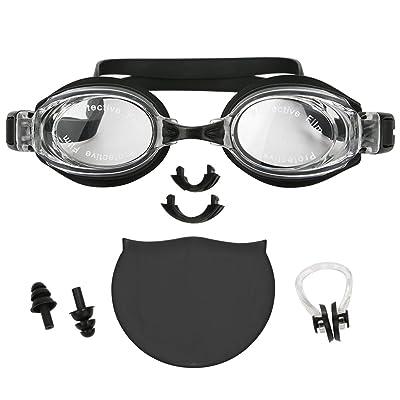 Lodabodkin Ensemble de lunettes de natation 4 pièces: lunettes miroir, capuchon de bain, bouchons d'oreille, bouclier à nez et étui imperméable EVA parfait pour homme et femme adultes