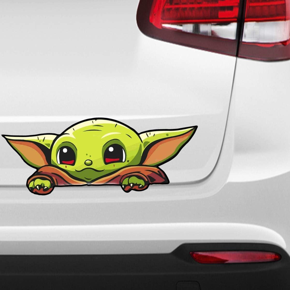 Pro Cut Graphics 1 X Baby Yoda Peeking Car Sticker Vinyl Decal Window Bumper Van Laptop Ipad Car Window 15cm Full Colour Print Amazon Co Uk Diy Tools
