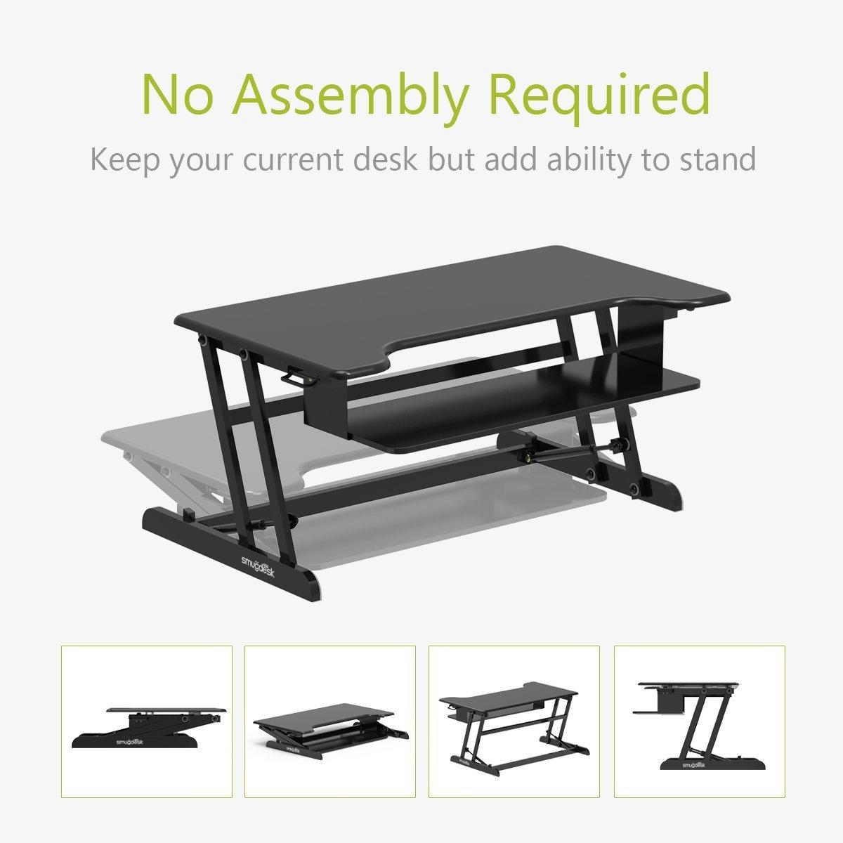 Standing Desk Converter Riser Adjustable (Dual Monitors, Black)