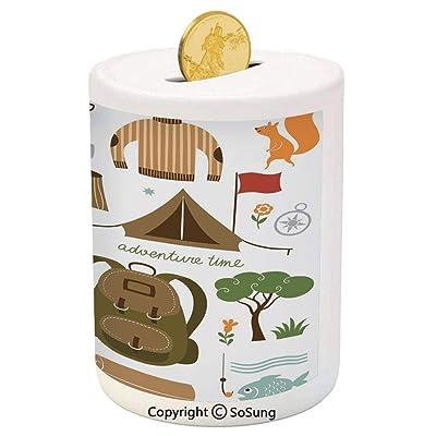 Adventure Ceramic Piggy Bank,Camping Equipment Sleeping Bag Boots Campfire Shovel Hatchet Log Artwork Print 3D Printed Ceramic Coin Bank Money Box for Kids & Adults,Multicolor: Toys & Games