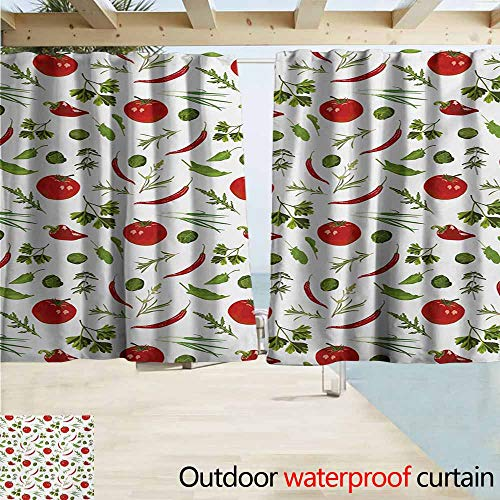 (AndyTours Exterior/Outside Curtains,Vegetables Having Dinner Lunch Time Tomatoes Dill Herbs Restaurant Spicy Image,Rod Pocket Energy Efficient Thermal Insulated,W55x63L Inches,Ruby Fern Green White )