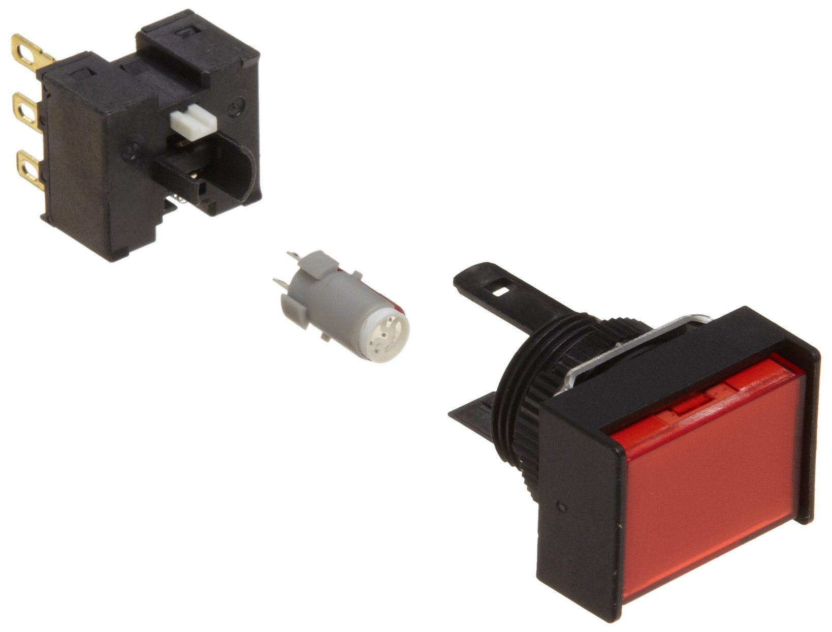 Omron A165L-JRM-24D-1 Two Way Guard Type Pushbutton and Switch, Solder Terminal, IP65 Oil-Resistant, 16mm Mounting Aperture, LED Lighted, Momentary Operation, Rectangular, Red, 24 VDC Rated Voltage, Single Pole Double Throw
