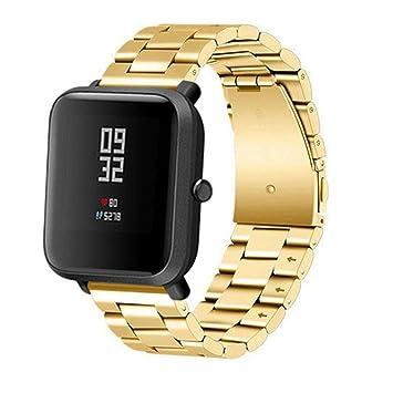 Correa de repuesto elegante para reloj inteligente Xiaomi Huami Amazfit Bip, correa de acero inoxidable