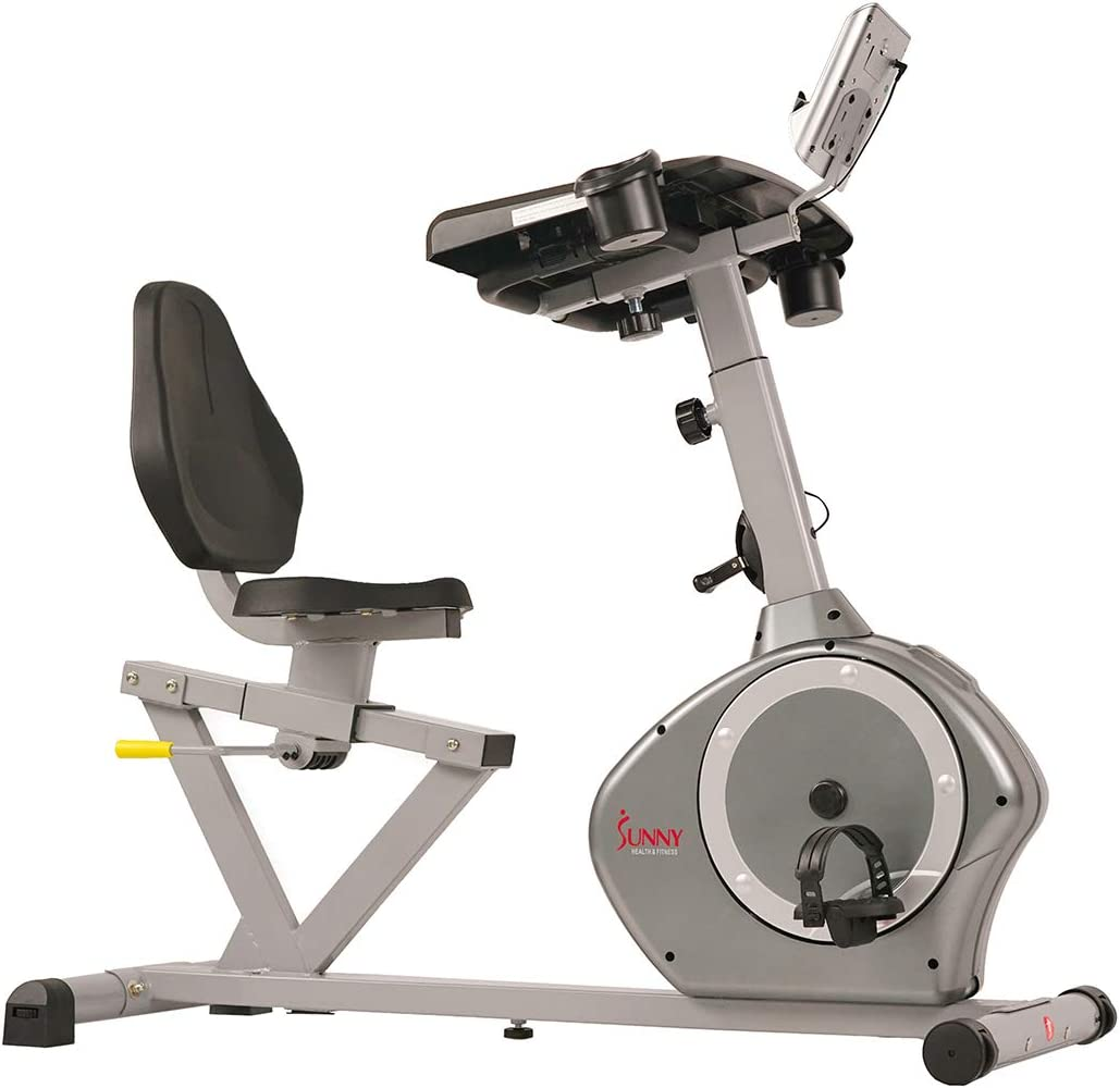 SUNNYHEALTH AND FITNESS MAGNETIC RECUMBENT DESK EXERCISE BIKE |EXERCISE BIKE 350lbs WEIGHT CAPACITY