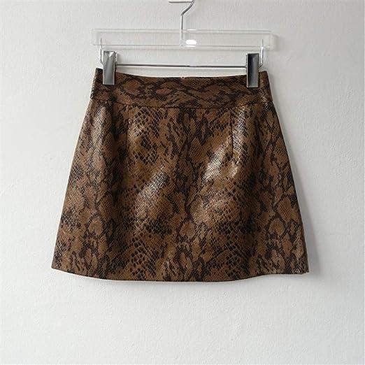 LUOSI Falda Mujer Minifalda con Estampado de Serpiente en Relieve ...