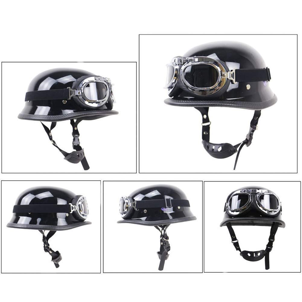 DBY Boy Casque de Moto r/étro Noir Brillant 55-64CM Unisexe Casque Harley approuv/é par Le Dot avec Lunettes