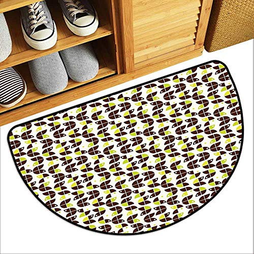 DILITECK Pet Door mat Geometric Retro Surreal Circle Forms Dots Sixties Inspired Design Machine wash/Non-Slip W31 xL20 Apple Green Chestnut Brown Cream