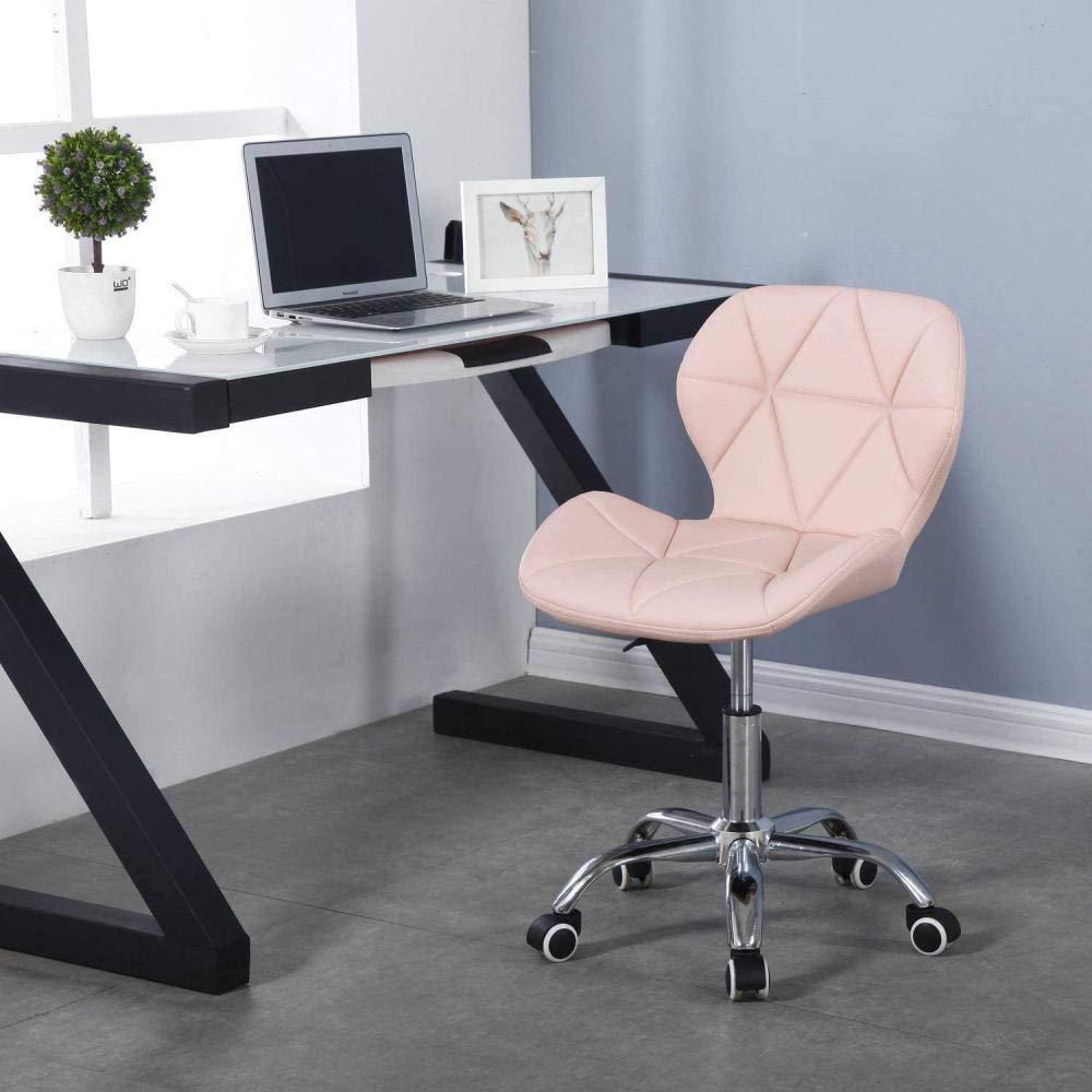 Ryggstöd datorstol hem sovrum svängbar stol matsal kontor svängbar stol med krom ben hjul lyft knästol (färg: Rosa) Rosa