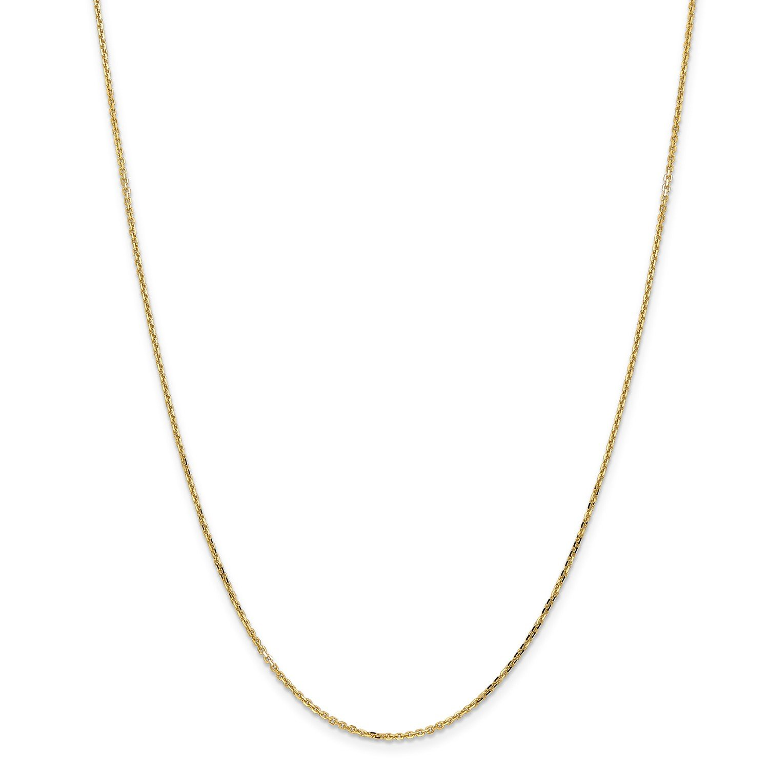 Roy Rose Jewelry 14K Yellow Gold 1.4mm Diamond-cut Cable Chain Necklace ~ Length 18'' inches