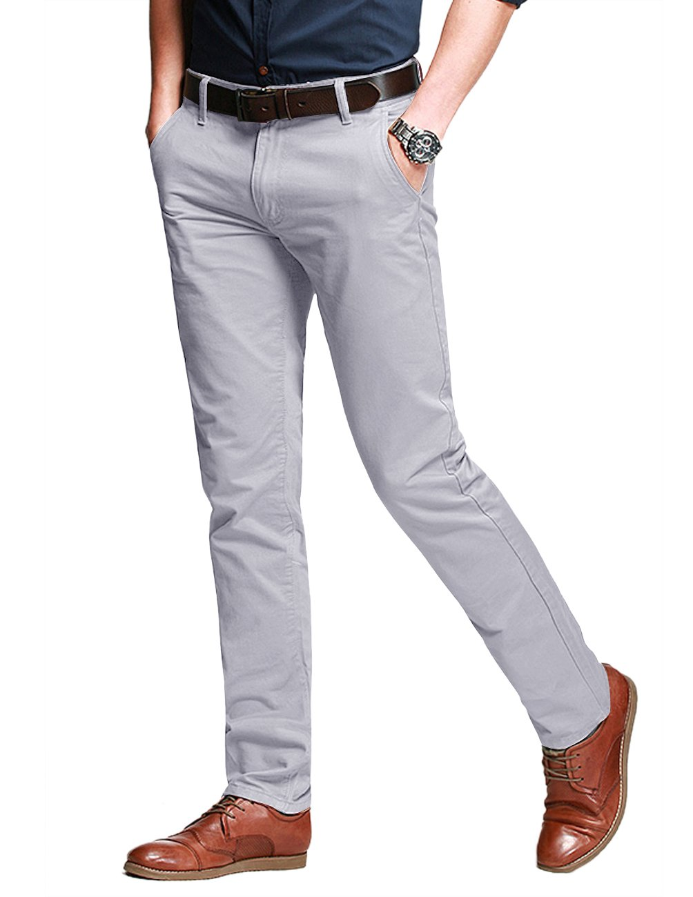 Match Men's Slim Fit Tapered Stretchy Casual Pants (32W x 31L, 8050 Light Gray)