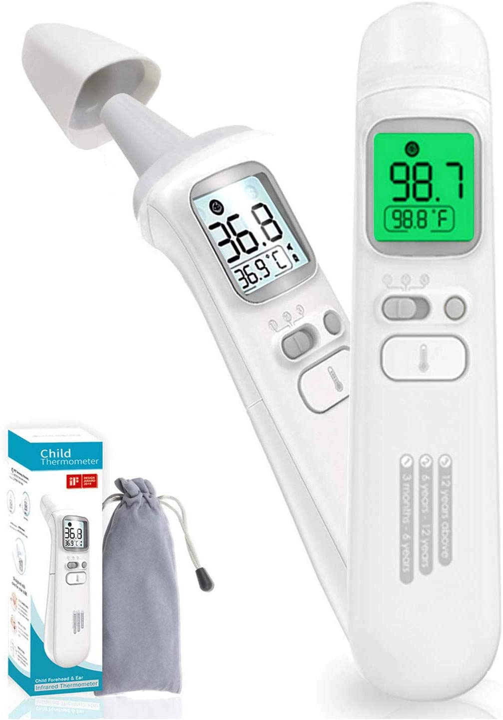 Digital Non-Contact Forehead Infrared Thermometer,with FDA /& CE Certified,Instant Readings with LCD Display,3 Color Screen,Fever Alarm for Baby Kids /& Adults US Stock Arrive Within 3-7 Days