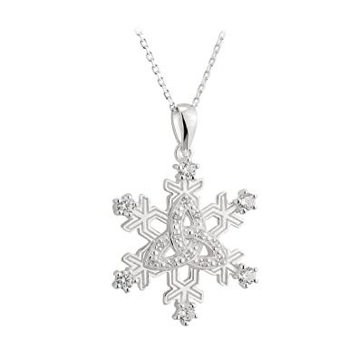29ac765a3 Image Unavailable. Image not available for. Color: Solvar Sterling Silver  Trinity Knot Cz Snowflake Pendant