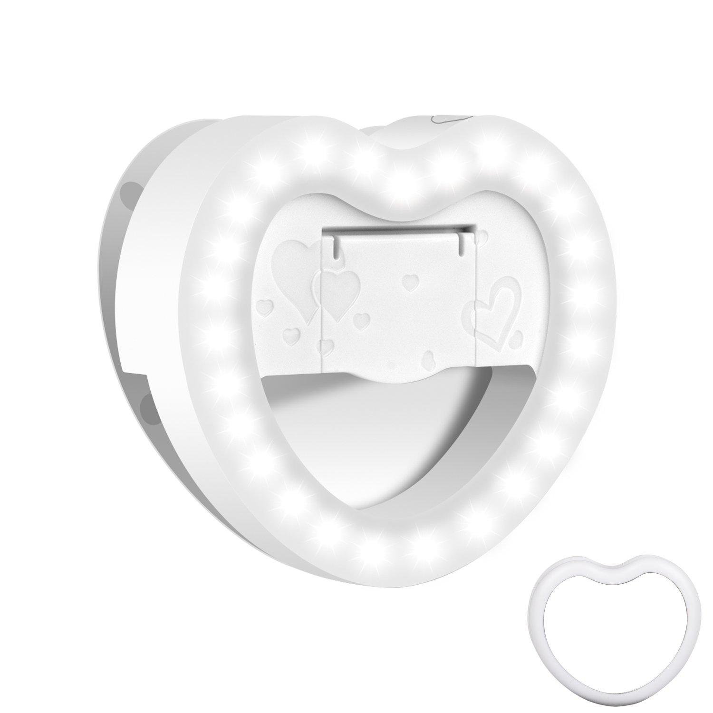 Ottina Selfie Light, [Rechargeable Battery] Clip on Selfie LED Light for Phone & Camera, with 3 Level [36 LED], Mirror, LED Camera Light - White