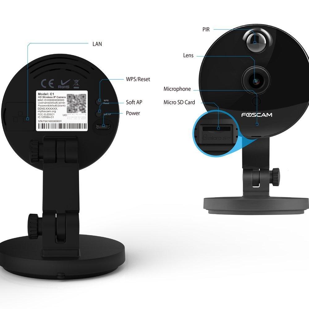 funci/ón P2P visualizaci/ón remota 720p seguridad slot tarjeta Micro WIFI C/ámara IP de vigilancia de interior Foscam C1 con 8 GB de tarjeta micro sd H264 alarma detecci/ón movimiento 1.0 MP compatible con iOS y Android