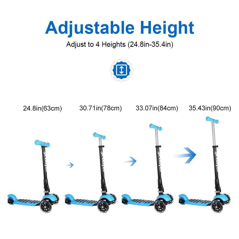 with Adjustable Height,Led Flashing Wheels 2-8 Year Blue ICODE Scooter for Kids Premium 3 Wheel Kick Scooter for Toddlers