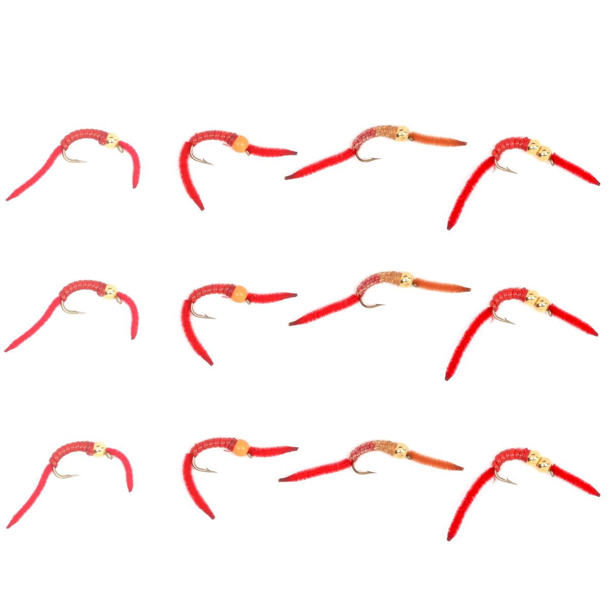 The Fly Fishing Place Trout Fly Assortment - San Juan Worm Power Bead 1 Dozen Wet Nymph Fly Fishing Flies - Hook Size 10-3 Each of 4 Patterns by The Fly Fishing Place