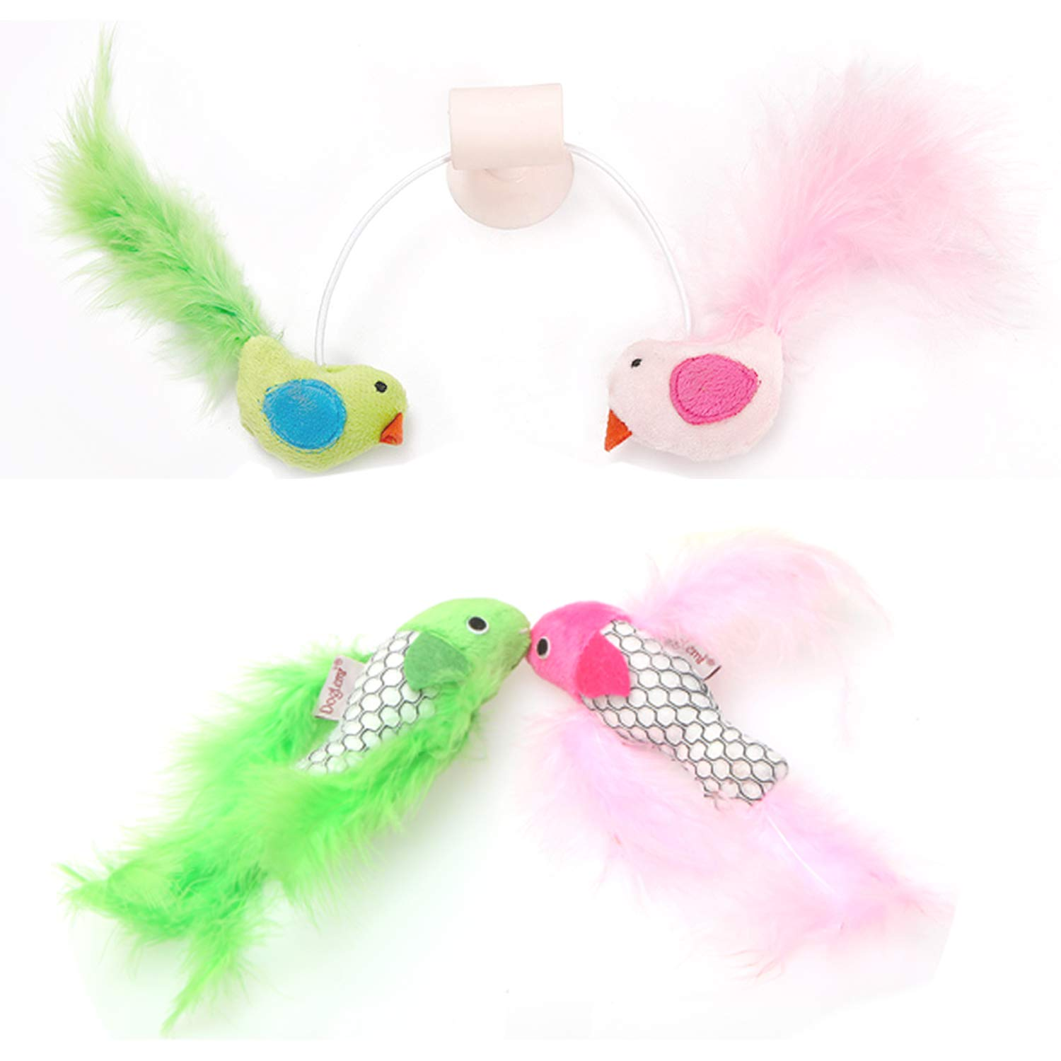 BoToKiNo Wall Mounted Cat Toy and Two Pet Feather Fish Toys-Cat Bird Interative Playing Toy Teaser Wand Sucker Window Cat toy, 3 Pcs