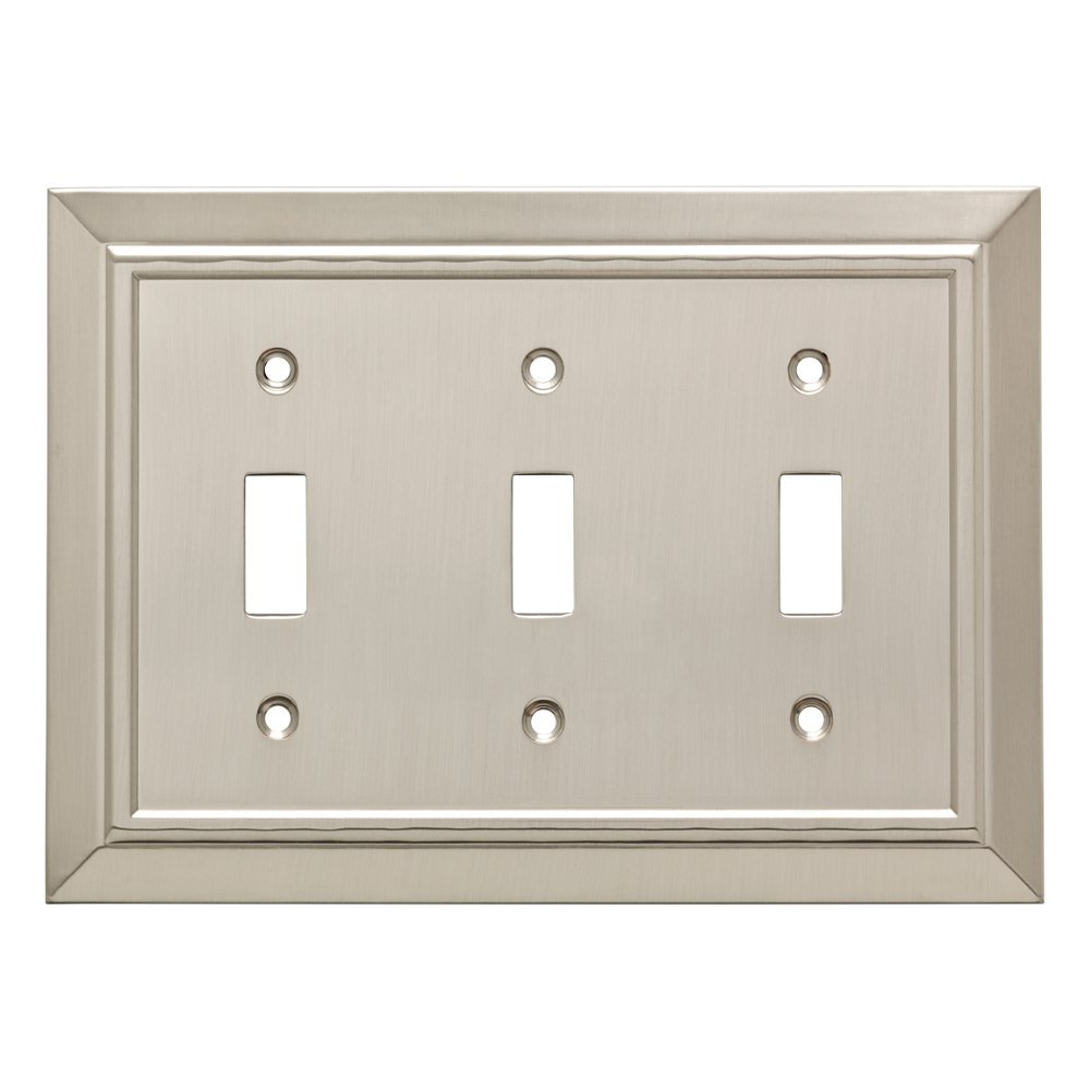 Franklin Brass W35225-SN-C Classic Architecture Triple Toggle Switch Wall Plate / Switch Plate / Cover, Satin Nickel