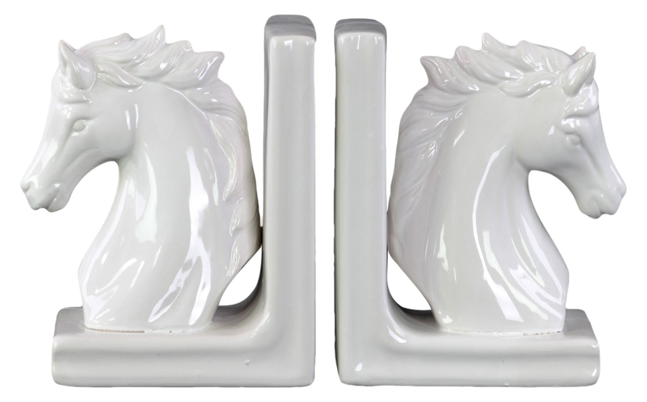 Urban Trends 11244-AST Ceramic Bookend, White Urban Trends Collection