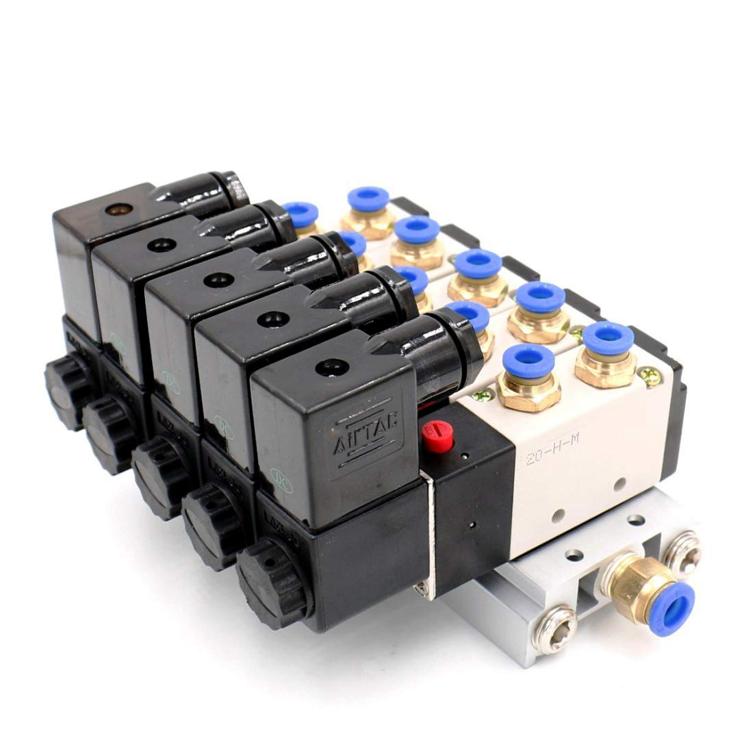 Woljay Pneumatic Solenoid Air Valve 4V210-08 AC 24V PT 1//4 2 Position 5 Way Normally Closed 5 Pneumatic Solenoid with Base Quick Fittings Muffler Set