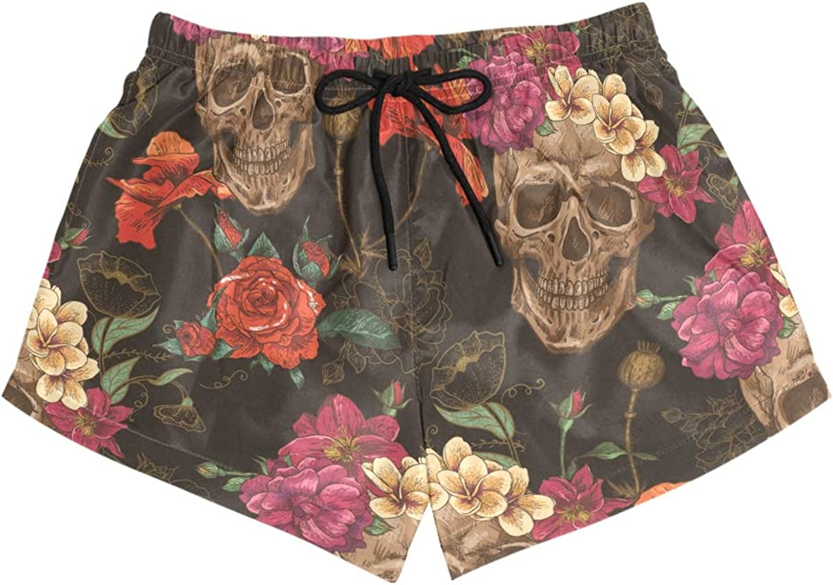 HEOEH Womens Pink Orange Rose Skull Beach Shorts Pants Ladies Boardshort Swimming Trunks