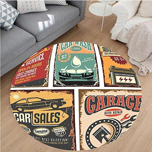 "Nalahome Modern Flannel Microfiber Non-Slip Machine Washable Round Area Rug-Nostalgic Art Auto Service Garage Funk Style Highway Logo Repair Road Grunge Decor Multi area rugs Home Decor-Round 59"""