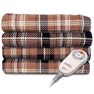 Sunbeam Microplush Electric Heated Throw Blanket in Aiden Plaid Walnut