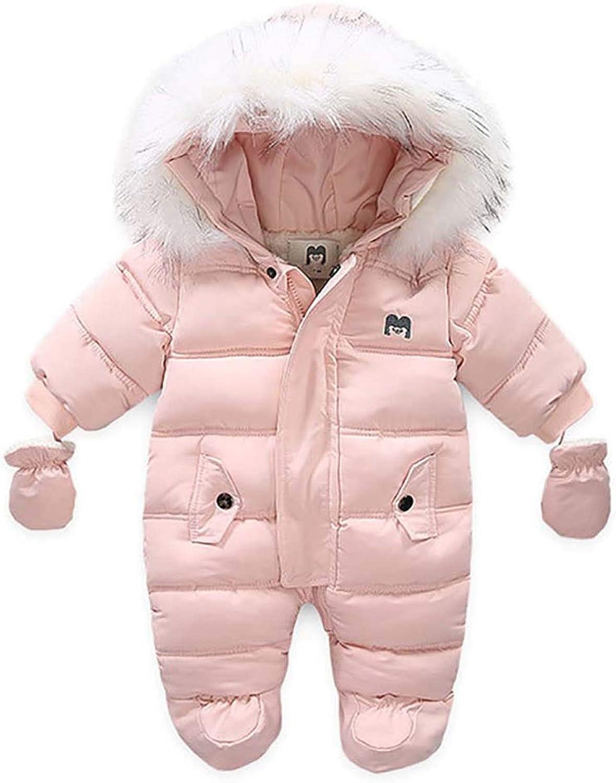 Unisex Baby Snowsuit Newborn Girls Boys Winter Coat Hooded Zipper Jumpsuit Outwear Footed Romper Coats