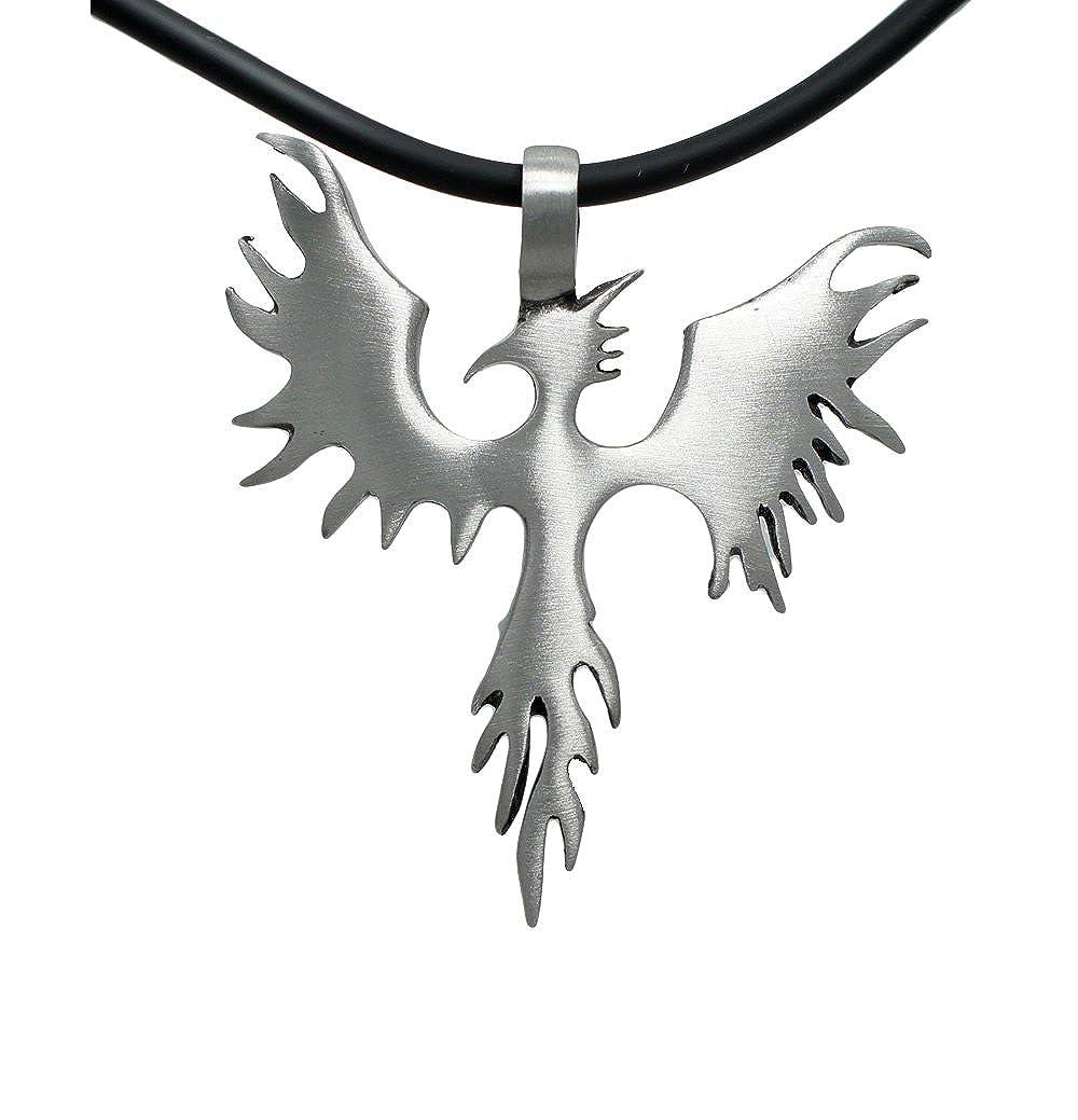 EXOTICDREAM Medieval Phoenix Phenix Firebird Sunbird Magic bird Pewter Pendant + 18 Pvc Rubber Necklace