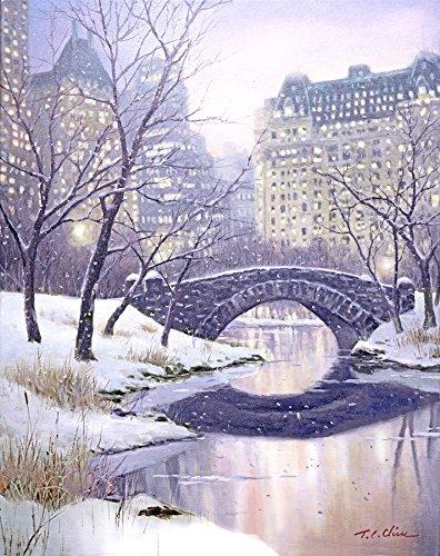 (New York City, Central Park Art Print of Oil Painting, Bridge, Winter Cityscape, Snow )