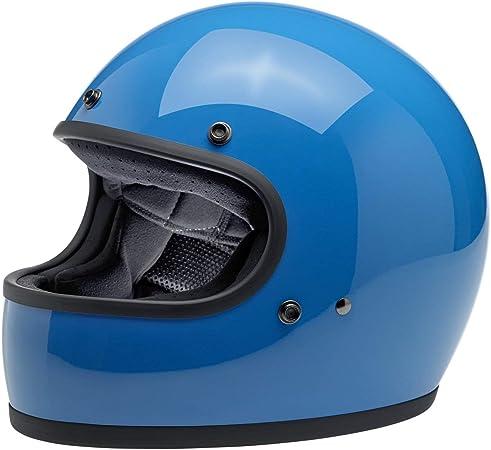 Integralhelm Biltwell Gringo Blau Glänzend Tahoe Blau Geprüft Doppelte Zulassung Ece Europa Dot Amerika Helmet Biker Custom Vintage Retro 70er Jahr Größe Xl Sport Freizeit