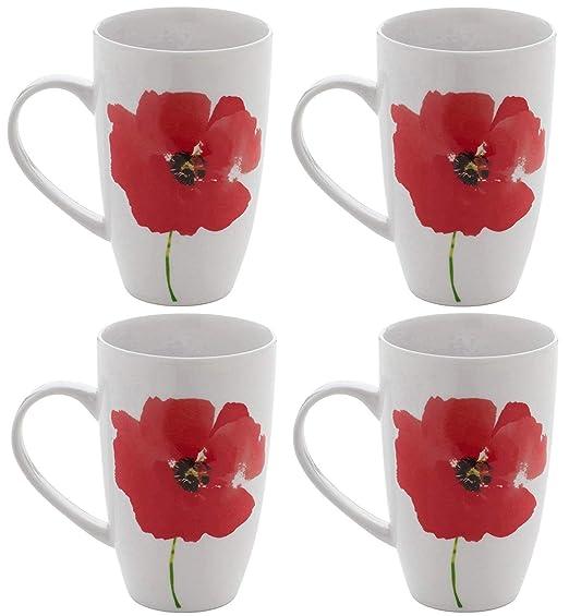 Juego de 4 tazas de porcelana, diseño de café, diseño de amapolas ...
