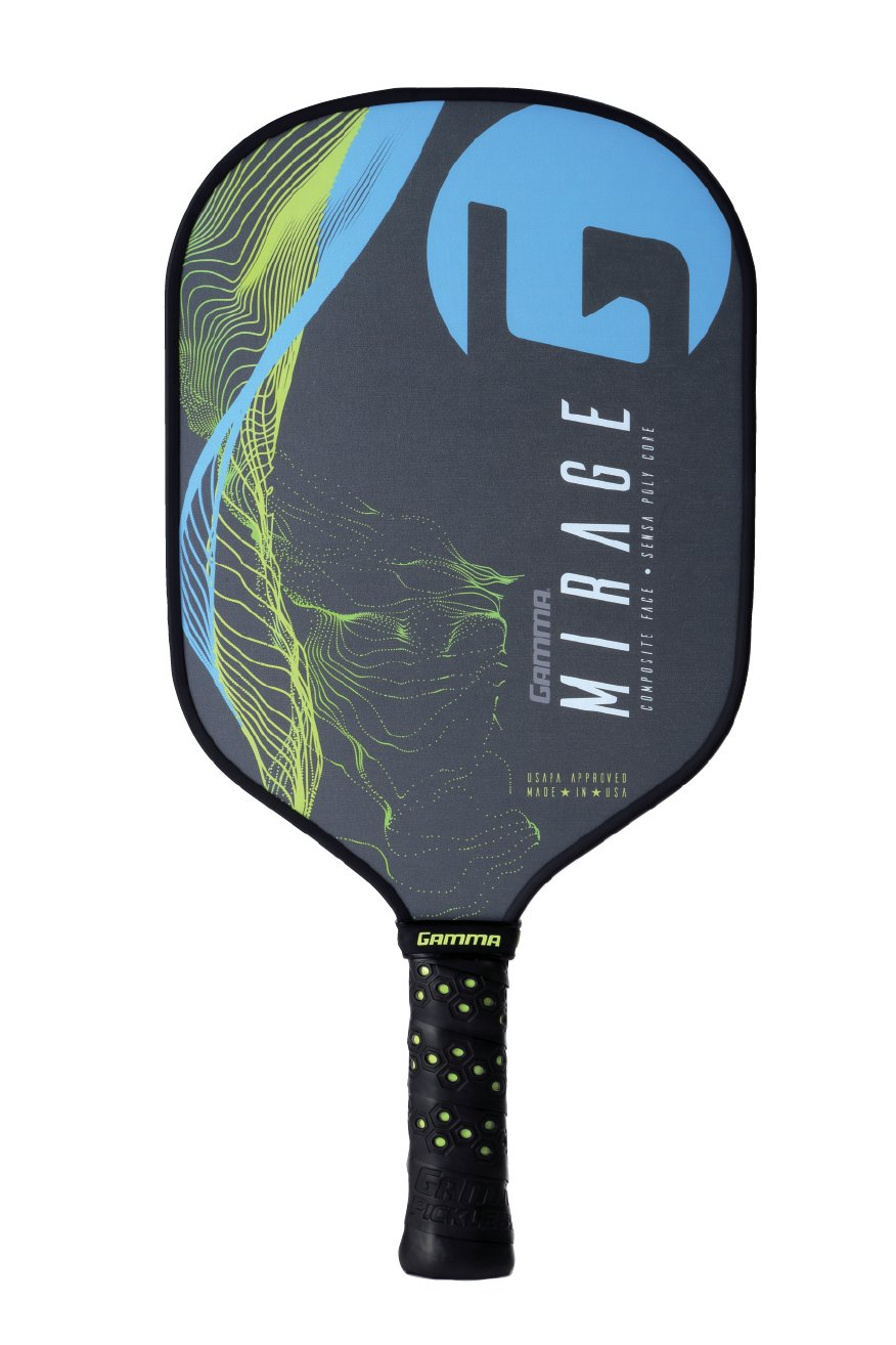 Gamma Mirage Composite Pickleball Paddle: Pickle Ball Paddles for Indoor & Outdoor Play - USAPA Approved Racquet for Adults & Kids - Blue/Yellow by Gamma (Image #2)