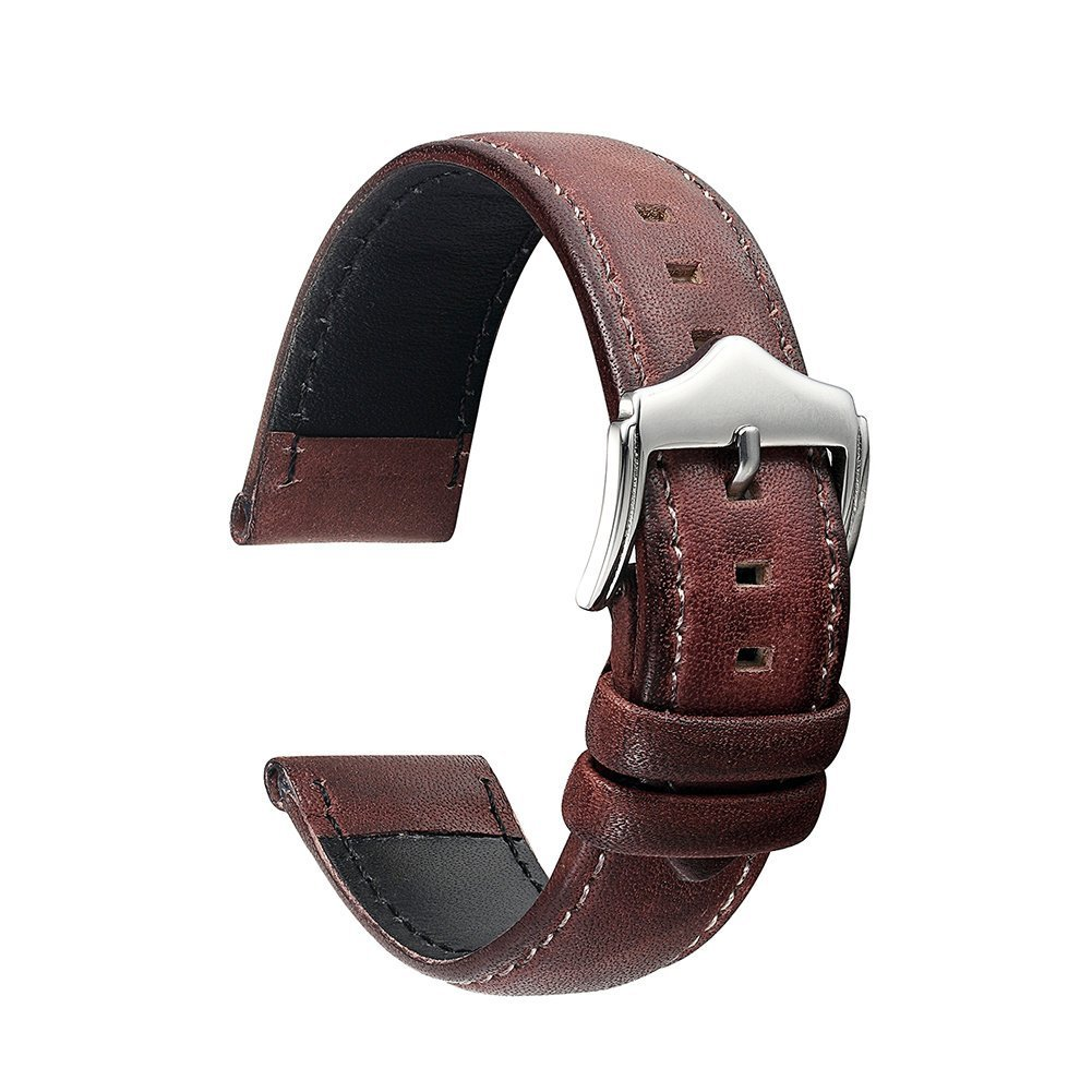KZFASHION Italian Leather Watch Band Replacement Watch Strap Band (22mm, Red Wine)