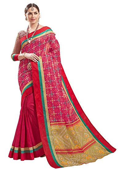 ba07b56e45f39f Ruchika Fashion Indian Women s Bandhani Printed Art Silk Saree With Blouse  Piece (Pink)