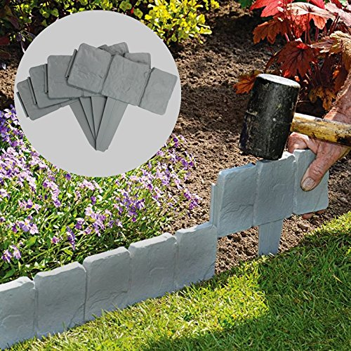 5 Meter Grey Stone Effect Lawn Edging | Plant Bordering | Hammer In Cobblestone Garden Border | Flower Bed & Grass | 20 Pieces (5m) M&W