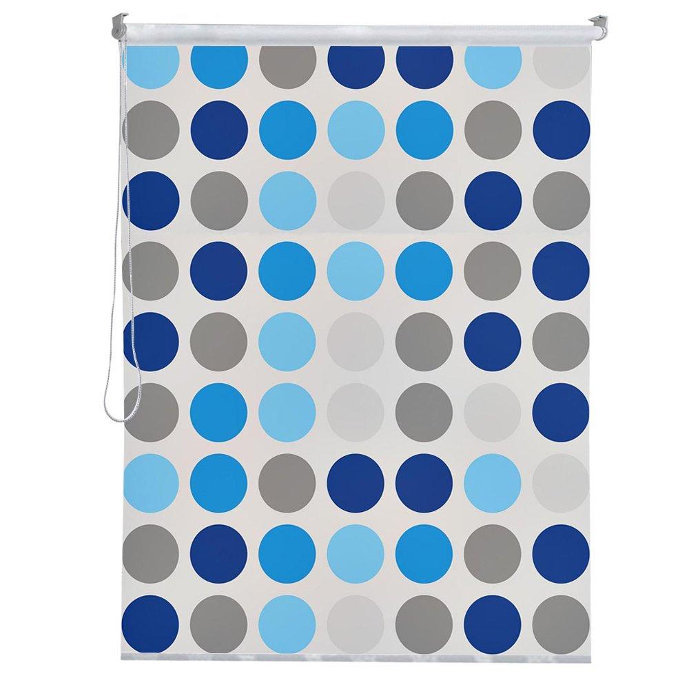 HENGMEI Moderna tenda a rullo per doccia impermeabile tenda della doccia, ad asciugatura rapida Rollo Vasca da bagno tenda per doccia e vasca da bagno, 240 cm lunghezza massima, Larghezza 80 cm, Macchia blu