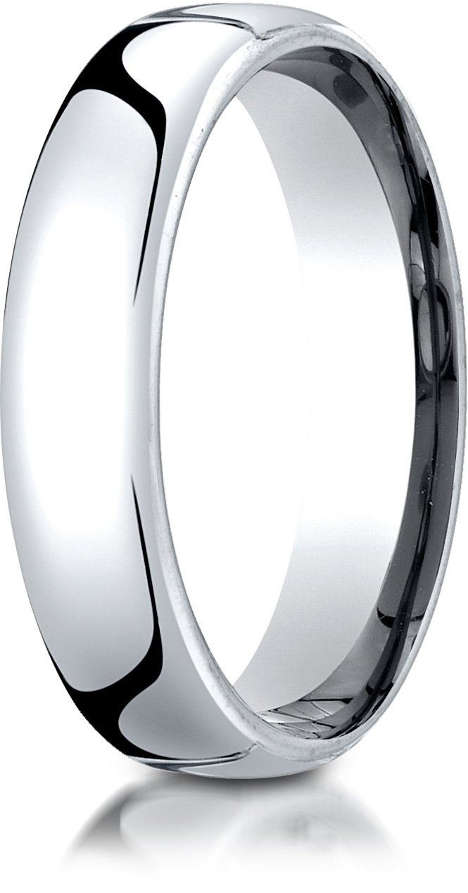 Benchmark 10K White Gold 5.5mm European Comfort-Fit Wedding Band Ring, Size 9