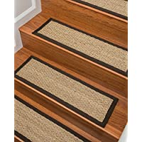 NaturalAreaRugs Half Panama Seagrass Carpet Stair Treads, Handmade, Durable, Stain Resistant, Anti-Static, Set Of 13 9'' x 29'' - Espresso