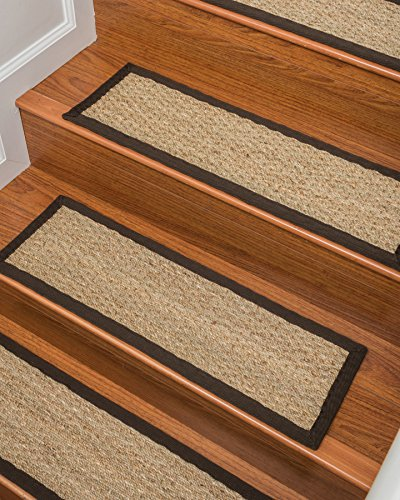 NaturalAreaRugs Half Panama Seagrass Carpet Stair Treads, Handmade, Durable, Stain Resistant, Anti-Static, Set Of 13 9'' x 29'' - Espresso by NaturalAreaRugs