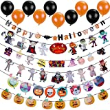 Lictin Halloween Paper Banner-Halloween Party Decorations Sets, 6pcs Banners and 20pcs Balloons Happy Halloween Pumpkin Bat Ghost Witches Spider Skull Grimace