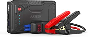 Arteck 800A Peak Portable Car Jump Starter (Up to 6.0L Gas or 4.0L Diesel Engine) QDSP Auto 12V Battery Pack Booster and QC3.0 External Battery Charger for Automotive, Motorcycle, Boat, Smart Phone
